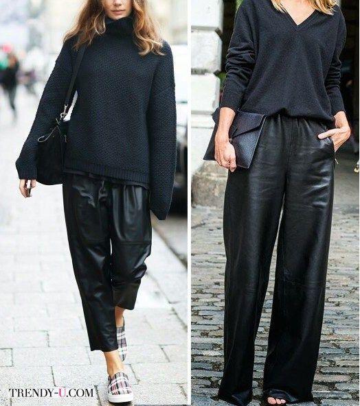 Черный свитер из шерсти - черные широкие брюки из кожи