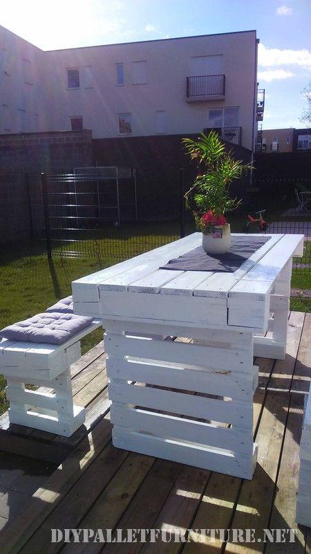 Bricolage Avec Palettes Pour Des Bancs De Jardin Et Une Table 2 Mobilier D Exterieur Palette Meuble Jardin Palette Et Salon De Jardin Palettes