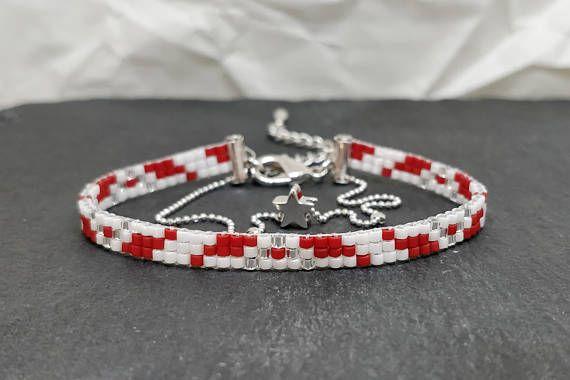 Narrow christmas bead woven bracelet/ Red & white loom beaded