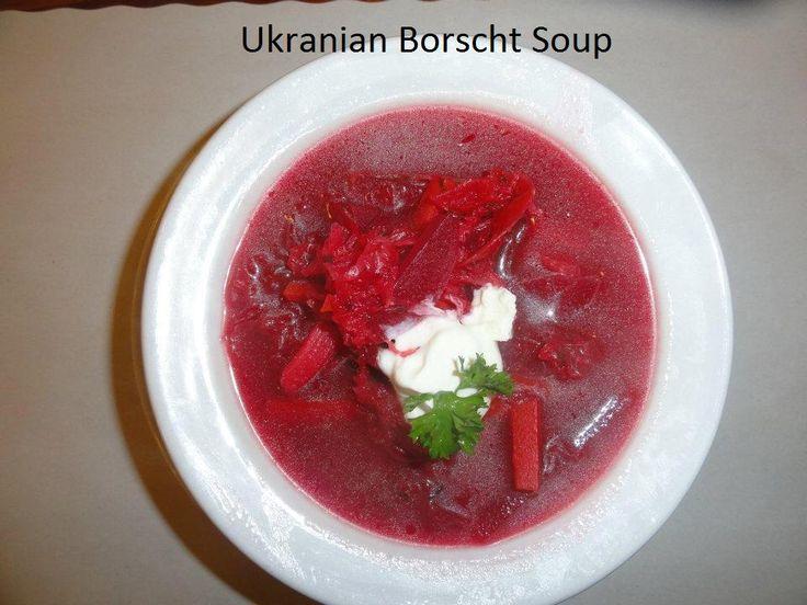 Ukranian  borscht soup at Savoury and Sweet Restaurant 3770 Bridgewater Street Niagara Falls Ontario