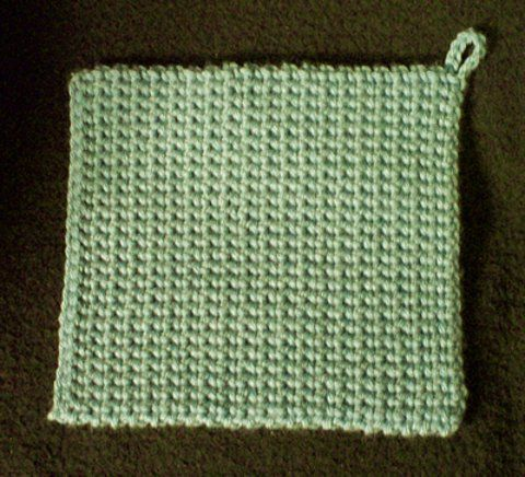 EASIEST pot holder patter EVER!     Made simply with SC, results in a thick pot holder!