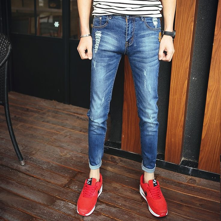 27.53$  Buy here - http://di9nn.justgood.pw/ali/go.php?t=32654422346 - Men's Collection Jeans Pants Slim Cotton Denim Jeans Straight Washed Pants Blue Jeans Plus Size High Quality