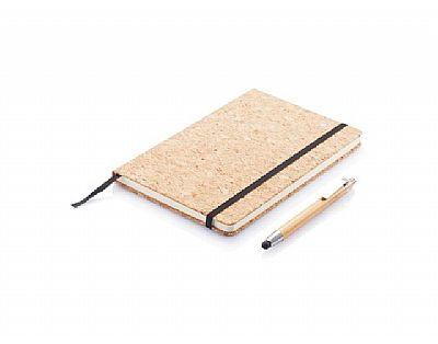 A5 Notitieboek, van Kurk, incl bamboe touchscreen pen, bruin. Relatiegeschenk.nl voor al uw onbedrukte en bedrukten relatiegeschenken.