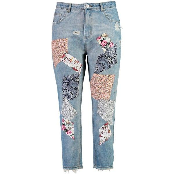 Boohoo Plus Sadie Patchwork Print Skinny Jean ($36) ❤ liked on Polyvore featuring jeans, pants, bottoms, patchwork jeans, skinny jeans, skinny fit jeans, blue jeans and skinny leg jeans