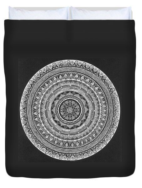 Duvet Cover featuring the drawing Meditative Mandala by Ajanta Roy Chaudhury