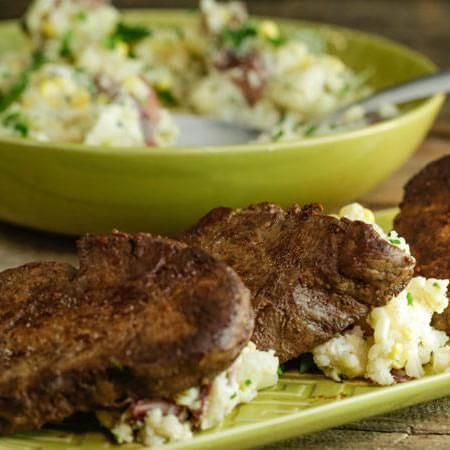 Ayesha Curry's Easy Pan Steaks with Loaded Mashed Potatoes Recipe