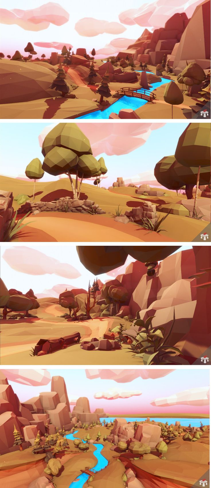 Low Poly Series: Landscape A sturdy pack of stylized low-poly assets that's perfect for a lush and vibrant landscape. – Over 300 assets in total – NEW! 133 Modular Terrain Assets – 18 Trees – 57 Foliage Assets – 30 Various Props – 16 Rocks / Cliffs – 58 Ground and Terrain Assets – All assets consist of 2 textures. UNIT