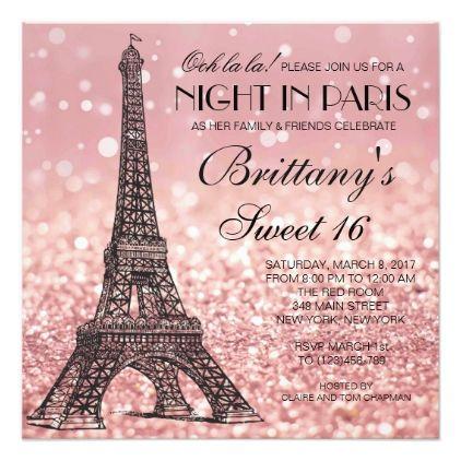 Rose Gold Eiffel Tower Paris Sweet 16 Invitation - glitter glamour brilliance sparkle design idea diy elegant