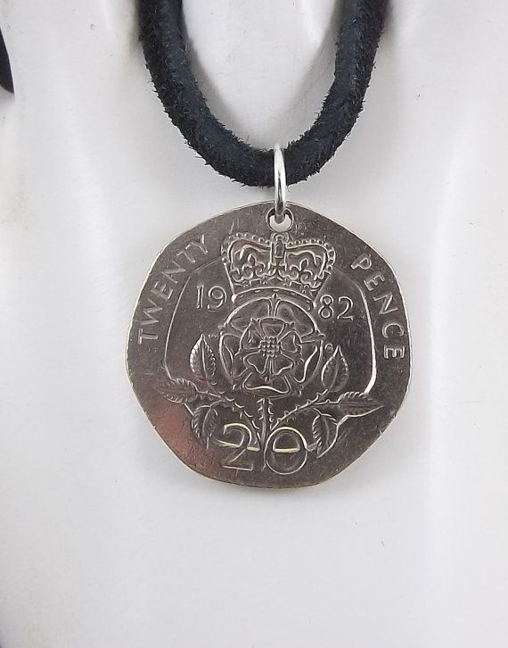 English Coin Necklace Tudor Rose 20 Pence by AutumnWindsJewelry