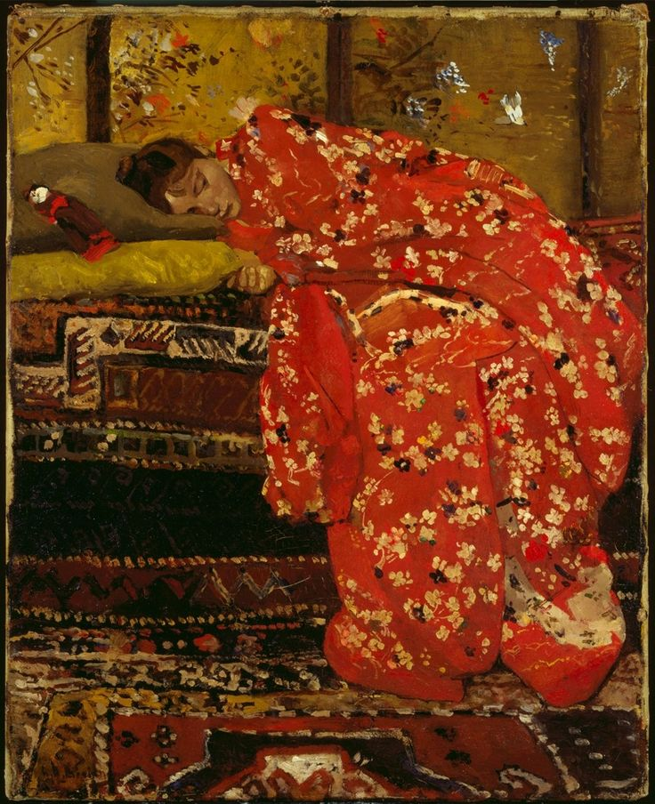 George Heidrik Breitner  (DutchImpressinist Painterand Photographer1857-1923)  Girl in Red Kimono,1893-1895  oil on canvas  Private collection