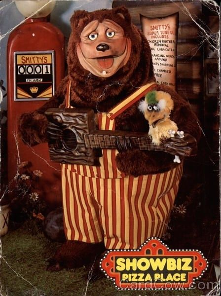 Rock-afire Explosion from Showbiz Pizza! I remember when they finished their songs just sat there all quiet still... staring into my soul.