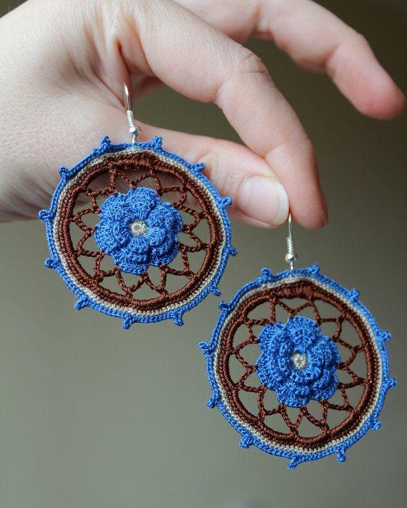 Hand Crochet Hoop Earrings, Jewelry, For Women, Blue, Brown, Grey, Flowers, Hand Crocheted Thin Cotton Lace, Summer