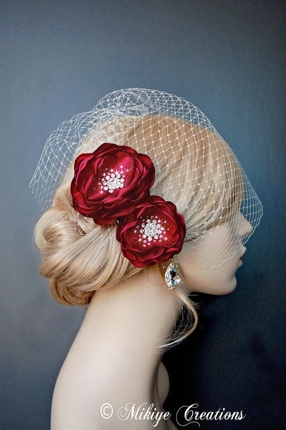 Wedding Headpiece Red Bridal Hair Flowers by Mikiye Creations
