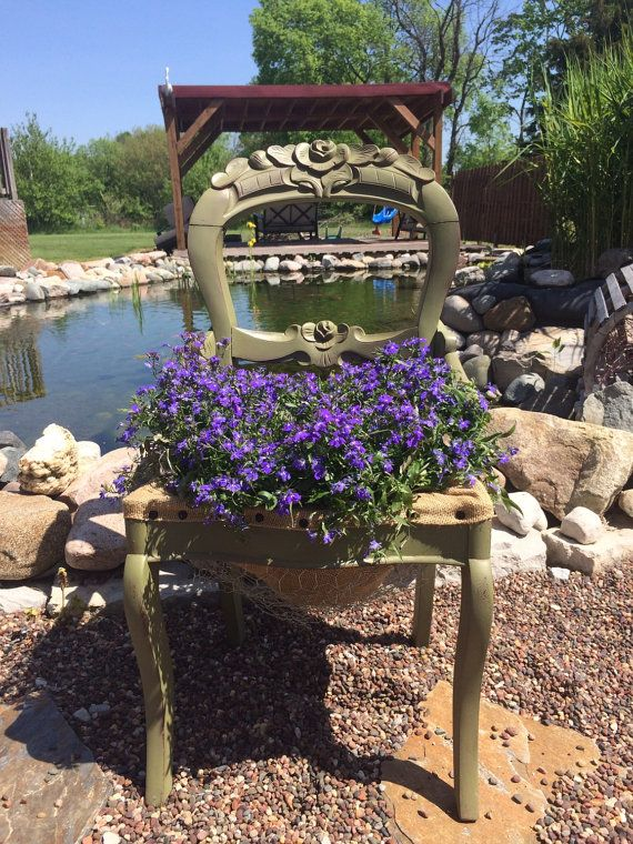 Green Painted Chairs. Painted Garden Chair Planter Shabby ...