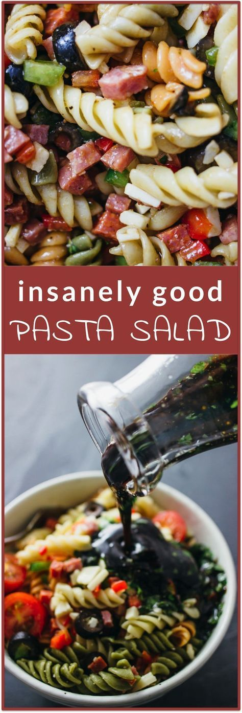 Insanely good pasta salad - This is a ridiculously good pasta salad that anyone can make. It's simple and easy with only 3 steps and it's a one-pot type of recipe! It's a cold hearty pasta that's full of healthy vegetables with fresh bell peppers, sliced black olives, and grape tomatoes. Also, I LOVE the Italian dressing that's so simple yet so tasty -- it's got olive oil and balsamic vinegar (yum!) plus some fresh herbs.   http://savorytooth.com