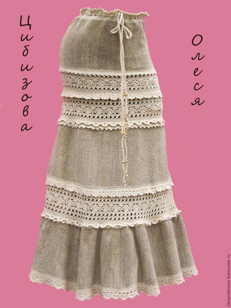 """Купить Вязаная юбка """"Велюровая ажурная"""" - бежевый, однотонный, юбка, вязаная юбка"""