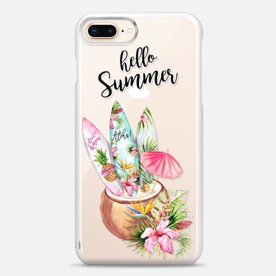 Hello Summer Surf Boards Coconut Cocktail Beach Party Aloha Tropical Flowers Hawaii - Impact Case