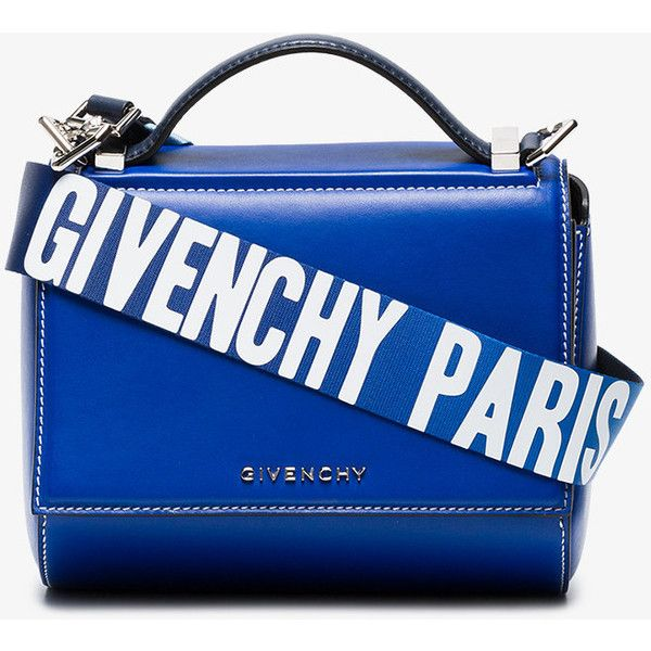 Givenchy Blue Pandora Mini Leather Shoulder Bag ($1,850) ❤ liked on Polyvore featuring bags, handbags, shoulder bags, torbe, blue, leather shoulder bag, leather purses, givenchy purse, blue leather purse and leather handbags