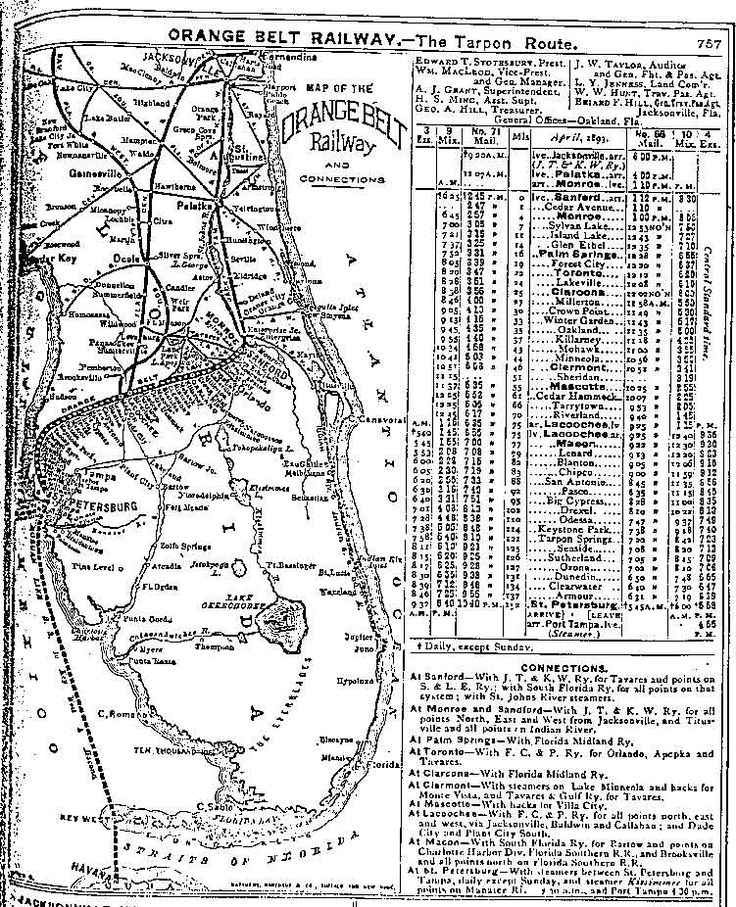 Orange Belt Railway schedule from 1893. Our house is a few hundred yards from the now-removed track, about halfway between Toronto and Forest City. Mail train leaving Sanford at 12:45 pm, the train would reach Forest City at 3:39 and Toronto at 3:47.