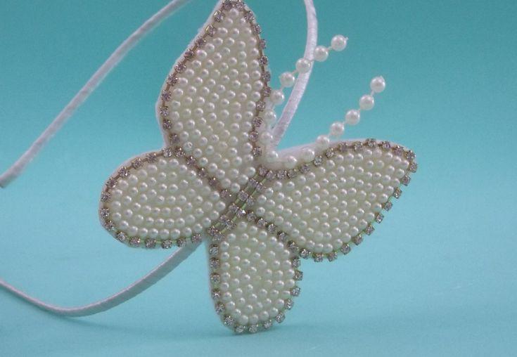 Faça você mesma: tiara com borboleta em pérolas