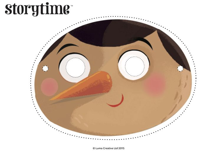 Pretend you're Pinocchio with our free printable mask and read the story in Storytime Issue 8! ~ STORYTIMEMAGAZINE.COM