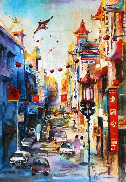 San-Francisco, China-town - watercolor city sketch, bright town    Anna Sokolova