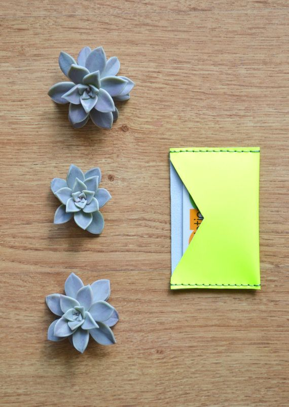 Leather card wallet / Card holder / Fluo yellow by LeatherDetails