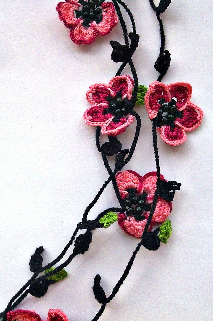 Handmade Crochet Necklace Oya with Burgundy and Pink Flowers. $19.99, via Etsy.
