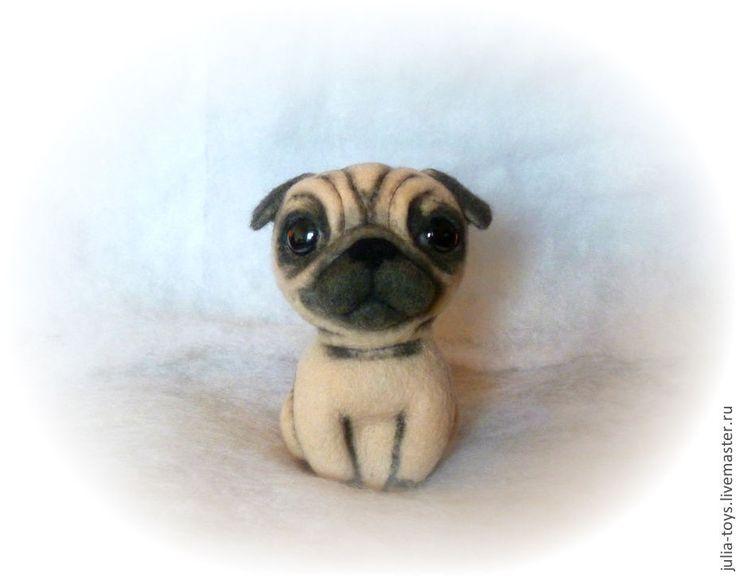Купить Мопсик - чёрно-белый, мопс, собака, собака игрушка, собака из шерсти, валяная игрушка