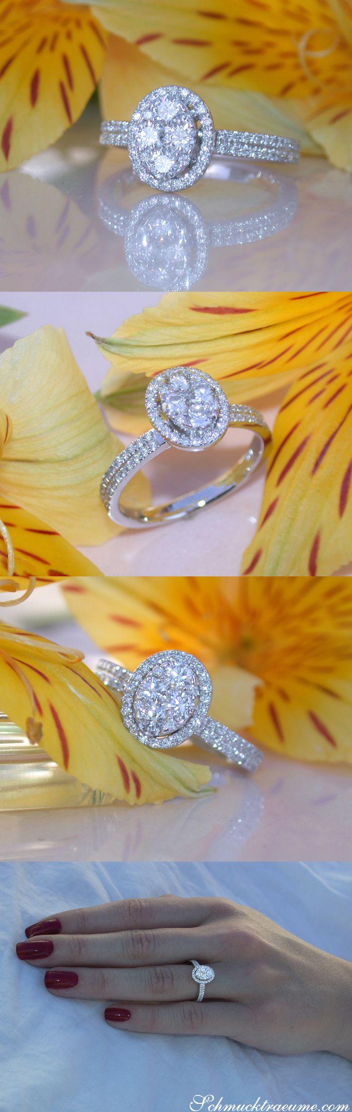 Simple elegance: Oval Diamond Ring - 0.81 ct. G VS2 - Whitegold 18k   schmucktraeume.com   FB: https://www.facebook.com/Noble-Juwelen-150871984924926/