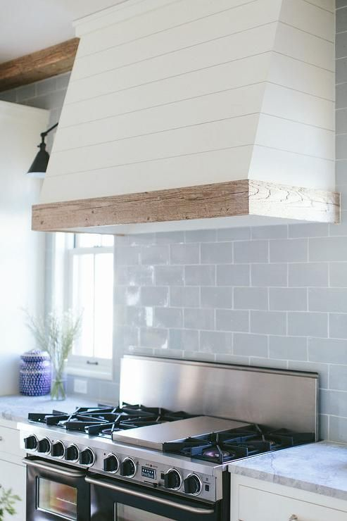 Love the white &natural wood trim.  Also the tile. Blue Glazed Subway Kitchen Backsplash Tiles