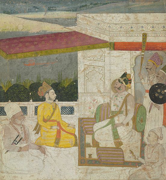 Raja On Terrace With Prince And Attendants. Gouache on paper heightened with gold, Kishangarh, ca. 1725