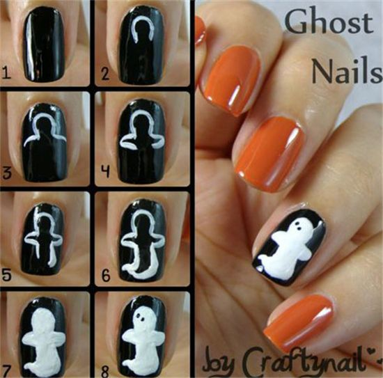 28 Easy Step By Step Halloween Nail Art Tutorials For Beginners   http://www.meetthebestyou.com/28-easy-step-by-step-halloween-nail-art-tutorials-for-beginners/