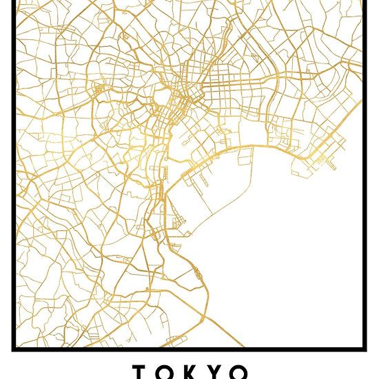 TOKYO JAPAN CITY STREET MAP ART -  An elegant city street map of Tokyo, Japan in gold, with the exact coordinates of the city, make up this amazing art piece. A great gift for anybody that has love for this city. You can never go wrong with gold. I love my city.