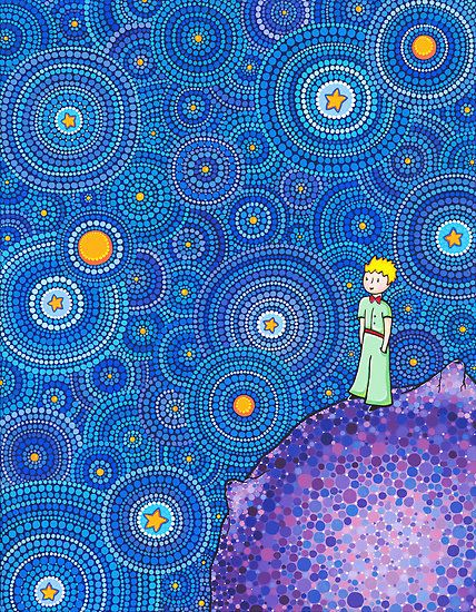 """""""The Cosmic Little Prince"""" by Elspeth McLean   Redbubble. Artist does beautiful pointalism art."""