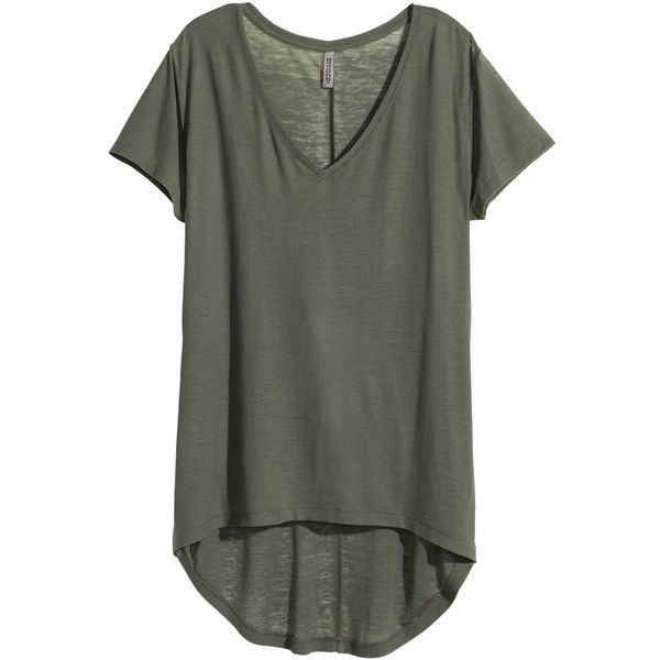 H&M Jersey top ($12) ❤ liked on Polyvore featuring tops, t-shirts, tees, khaki green, v neck t shirts, jersey tee, jersey tops, short sleeve tee and h&m