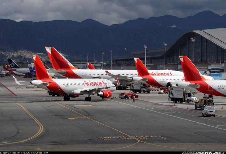 Avianca Colombia Airbus A319-115 pushing back at El Dorado International Airport, Bogota, Colombia