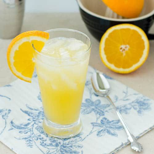 A recipe for an Orange Crush Cocktail made with fresh squeezed orange juice, triple sec, and lemon-lime sparkling water. It is a refreshing beverage for any time of the year.