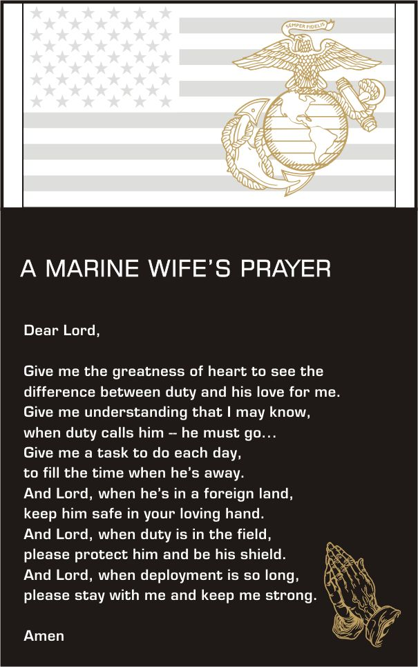 Marine Wife Prayer plaque- for Holly Person, my daughter in law- waiting for her Marine to return.