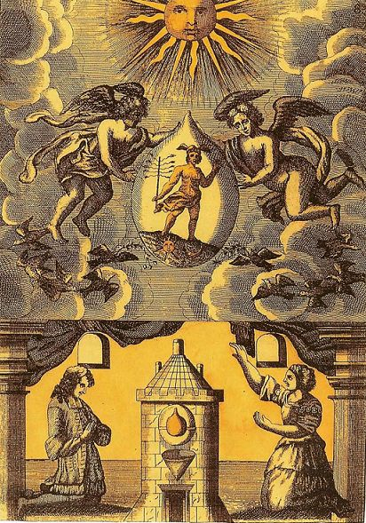 "In this image from the Mutus Liber, or ""Silent Book"", a 17th-century pictorial book, the philosopher's stone is shown (below) in the Athanor (alchemists' furnace), while its archetype is personified as Mercury (above) in the hands of the angels. The image emphasizes that the physical operations of alchemy mirror a spiritual reality."