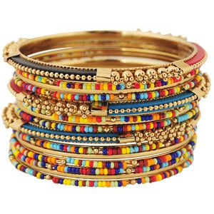 Gold multi bangles, seed beadsStacked Bracelets, Beads Bangles, Bangles Sets, Seeds Beads, Glamorous Jewelry, Tribal Beads, Mas Colors, Multi Bangles, Imaginary Closets