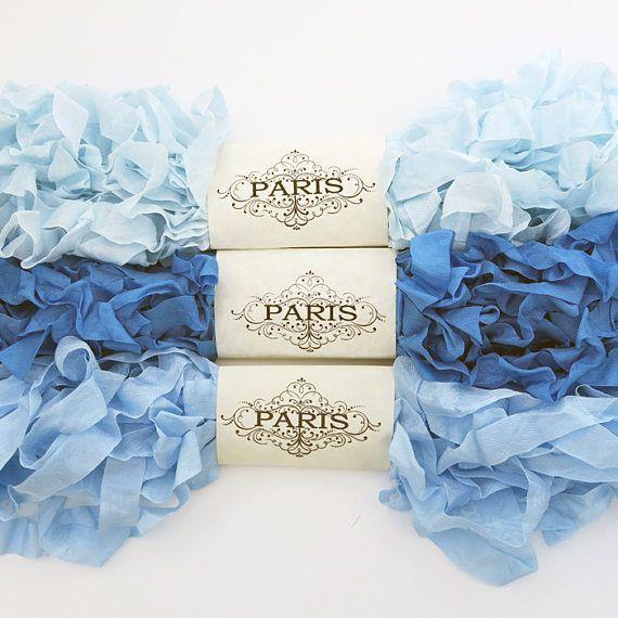 Seam Binding Ribbon Blue Rayon Shabby Crinkled Ribbon