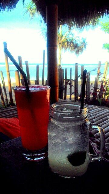 Watermelon juice plus lime squash at Pirates Bay Bali, enjoy both food and travel
