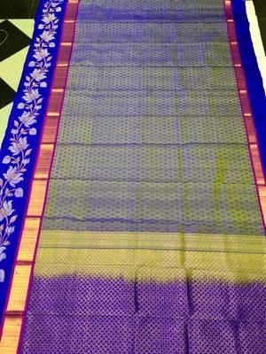 Traditional Handwoven Golden Grey Shade With Blue Border Silk Saree Silk Sarees on Shimply.com
