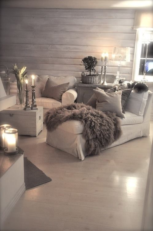 I could never do white furniture and it would need color on the walls but I love how cozy it looks