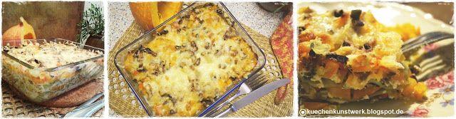 Küchenkunstwerk: Herbstliche Kürbis-Maronen-Lasagne #rezept #kuechenkunstwerk #foodie #lasagne #maronen #kürbis #backen