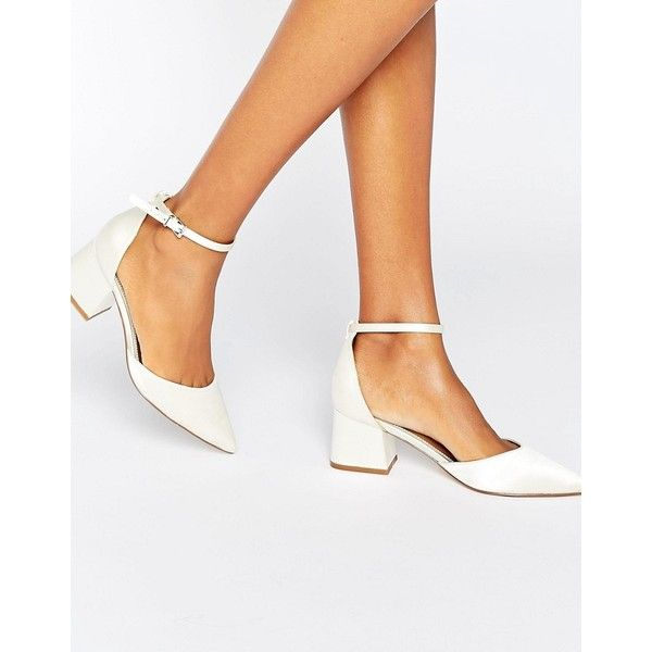 ASOS STARLING Bridal Pointed Heels (200 ILS) ❤ liked on Polyvore featuring shoes, pumps, cream, bridal pumps, satin pumps, satin bridal shoes, cream pumps and kitten heel pumps
