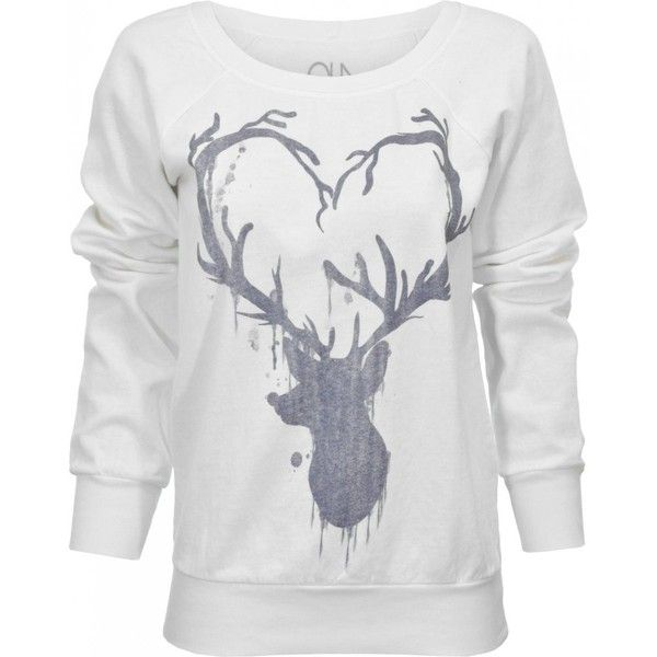 Chaser LA | Buy Chaser TEEs Deer Heart Fleece Long Sleeved Top at... ($115) found on Polyvore
