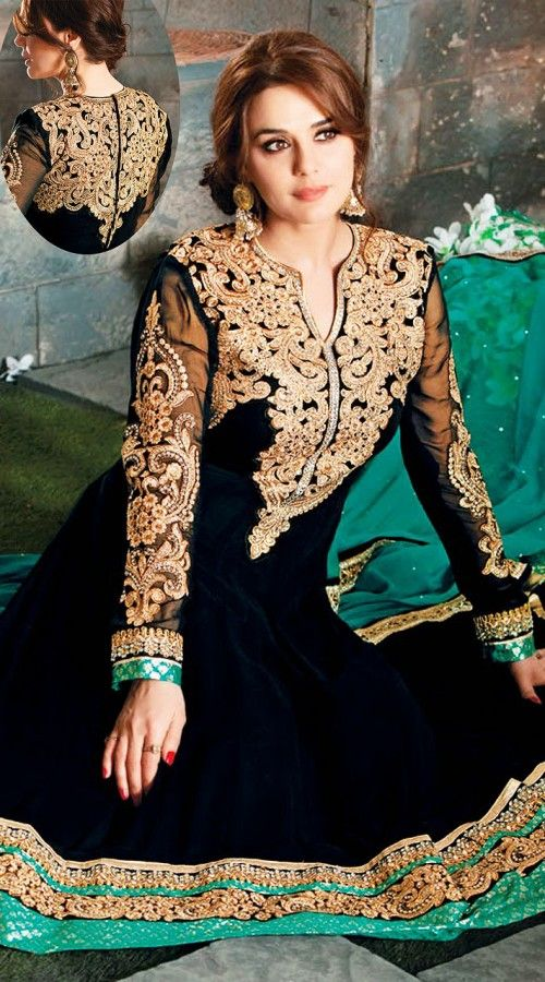 Preity Zinta In Black Long Length Anarkali Suit AG911050