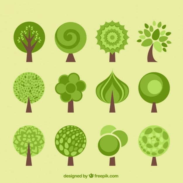 Tree icons collection in flat design style